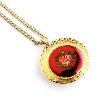 Vintage Sorna Watch Necklace - Gold Tone 1970s Retro Red Mod Enamel Flower Wind Up Costume Jewelry / Floral Clock