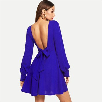 Blue Knot Backless Sweetheart Solid Fit and Flare Long Sleeve Short Dress Women Casual Streetwear Sexy Dress