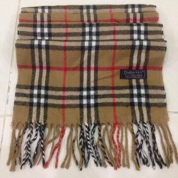 vintage burberrys scarf / scarves 100% lambswool plaid pattern made in england unisex