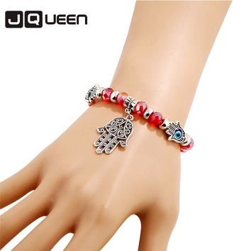 2017 Hot Lucky Fatima Hamsa Hand Blue Evil Eye Butterfly Charm Red Glass Bracelets