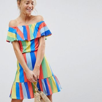 ASOS Off Shoulder Sundress With Tiered Skirt In Rainbow Stripe at asos.com