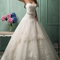 [173.59] Glamorous Tulle & Lace Sweetheart Neckline Dropped Waistline Ball Gown Wedding Dress With Lace Appliques #blowout - Dressilyme.com
