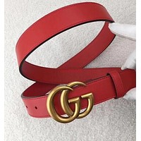 """GUCCI"" Stylish Women Men Personality Smooth Buckle Leather Belt Black"