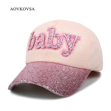 AOVKOVSA 2017 New Fashion Women Letter Baby Baseball Cap Duck Tongue Sports Diamond Sequins Snapback Girl Hat