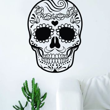 Sugar Skull V15 Art Wall Decal Sticker Vinyl Living Room Bedroom Decor Teen Day of the Dead Rose