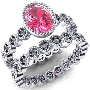 Borea Oval Pink Sapphire Full Bezel Milgrain Diamond Accent Full Eternity Ring