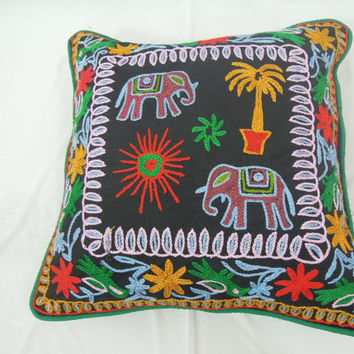"""Black Suzani Accent Pillow Embroidered Indian Decorative Cushion Cover Throw Ethnic Indian Art 17"""""""