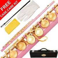 180-LP - LIGHT PINK/GOLD Keys Closed C Flute Lazarro+Pro Case,Care Kit - 22 COLORS Available ! CLICK on LISTING to SEE All Colors