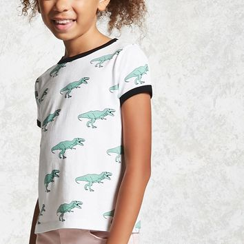 Girls T-Rex Ringer Tee (Kids)