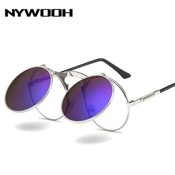 NYWOOH Retro Steampunk Sunglasses Women Brand Designer Round Metal Frame Sun Glasses Men Gothic Steam Punk Vintage Eyewear UV400