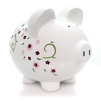 Bank Large Shabby Chic Pig Bank Bank