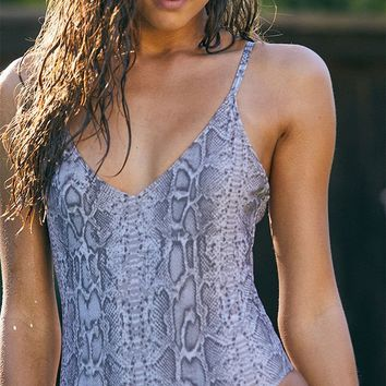 Salero Swim Snake Print V-Neck One Piece Swimsuit | PacSun
