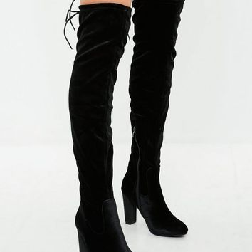 Missguided - Black Velvet Over the Knee Boots