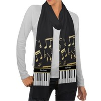 Musical Notes and Piano Keys Black and Gold