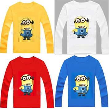 100% Cotton Kids T Shirt Children despicable me 2 minion Long Sleeve T-Shirt child Boys Girls Clothes Tshirt Tops Tees
