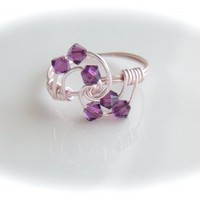 Swarovski Amethyst Crystal 4mm Bicone wrapped in rosegold toned wire