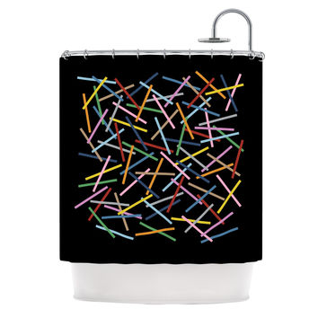 """Project M """"Sprinkles on Black"""" Shower Curtain"""