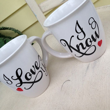 I love you coffee mug set, wedding gift, shower gift, bridal shower, coffee mug, unique coffee mugs, customized, personalized coffee mug