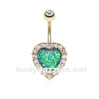 Golden Heart Opal Essentia Belly Button Ring 14ga Navel Ring Body Jewelry