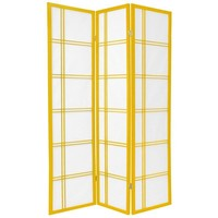Oriental Furniture Double Cross Shoji Screen in Mustard