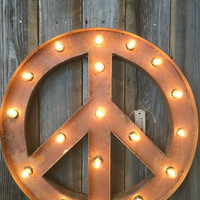 VINTAGE STYLE MARQUEE PEACE SIGN