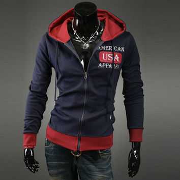 Men Hoodies Embroidery Tops Slim Korean Hats Jacket [6528674947]