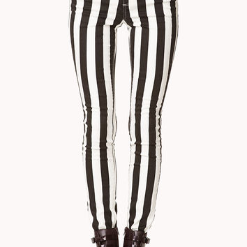 Bold Striped Skinny Jeans
