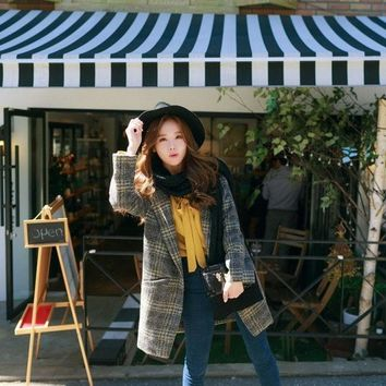 CREYUG3 2015 new winter coat in the long section of a Korean Korean button loose Plaid Wool Coat women's female = 1930290308