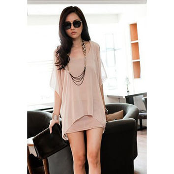 Pink Chiffon Mini Dress with 3/4 Lace Sleeve