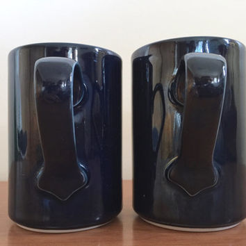 Pair of Dansk Bistro Bisserup Blue Mugs