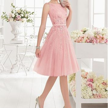 Cocktail Dresses 2017 A-line Pink Color Boat Neck With Beaded Sequined Cocktail Party Dress For Homecoming