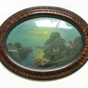 Antique Domed Glass Frame Oil Painting, Convex 1900s River and Moon Evening Landscape Picture, Chicago Portrait Co
