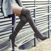 Suede Slim Thigh High, Over the Knee Boots