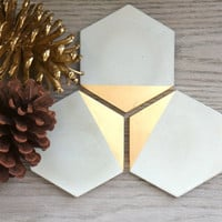 Concrete Hexagon Gold Painted Coasters. Set of 4. Concrete Coasters. Cement Coasters.