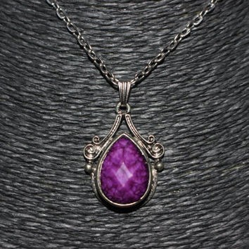 Silver/ Purple Stone Teardrop Shaped Pendant Necklace