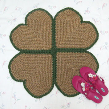 Four Leaf Clover Jute Rug - St Patrick's Day Decor - Natural Fiber Rug - Throw Rug - Hippie Decor - Hypoallergenic Shamrock Rug - Green Rug