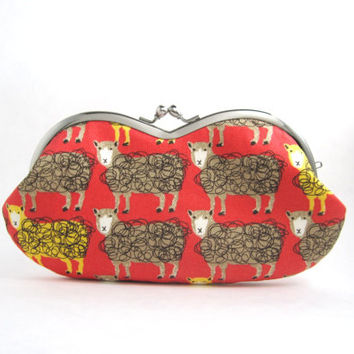 Sunglasses Case / Eyeglass Case - Clutch Purse- Sheep on red