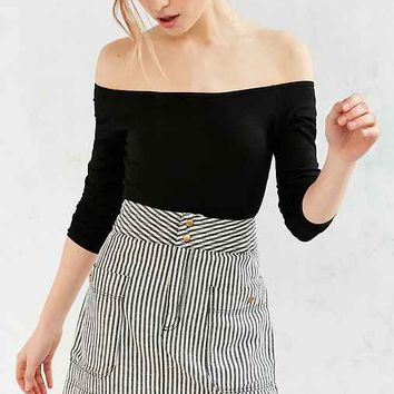 Silence + Noise Blair Railroad Stripe Mini Skirt