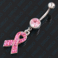 Sexy Love Ribbon Belly Button Ring - 316L Surgical Steel