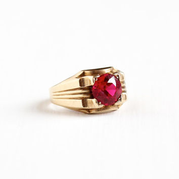 Antique 10k Yellow Gold Men's Created Ruby Ring - Size 9 1/2 Vintage Art Deco 1930s 1940s Pink Red Stone OB Ostby Barton Fine Jewelry