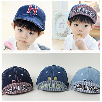 Spring Fall Baby Baseball Cap Adjustable Cowboy 3D H Letter Kids Boy Caps Girls Hip-Hop Sun Hat