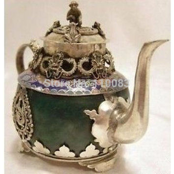 Vintage Handwork Teapot For Chinese Oriental Rare tibet silver monkey dragon green jade teapot Antique Metal