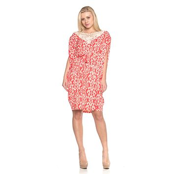 Women's Ikat Print Dress with Crochet Yoke Trim