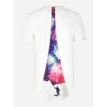 Men Galaxy Print Back High Low Tee
