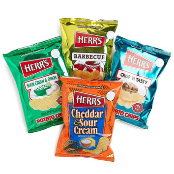Herr's Potato Chips Four Flavor Variety Pack 1 oz Bags - Pack of 42