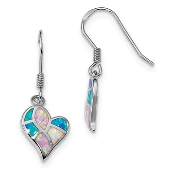 Sterling Silver Pink, Blue and White Rainbow Created Opal Heart Dangle Earrings