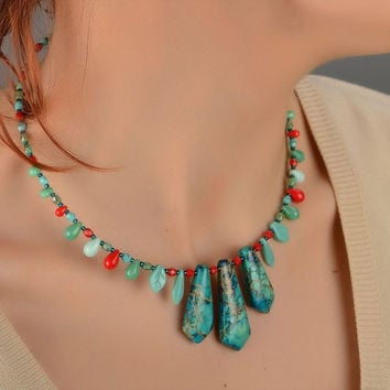 Handmade beautiful female necklace made of variscite and glass beads Mermaid