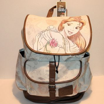Licensed cool Disney Beauty & The Beast Belle Rose LARGE Slouch Backpack School Book Bag Pack