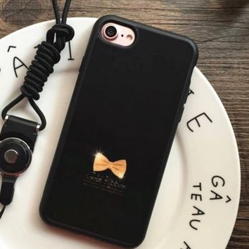 Lovely gold ribbon Phone Case Cover for Apple iPhone 7 7 Plus 5S 5 SE 6 6S 6 Plus 6S Plus + Nice gift box! LJ161101-007