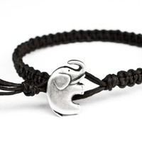 Elephant Hemp Bracelet Black Friendship